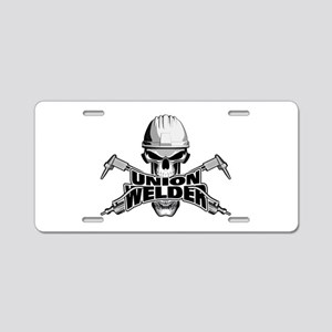 Union Welder Skull Aluminum License Plate