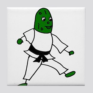 Funny Karate Pickle Art Tile Coaster
