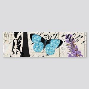 Floral butterfly paris Eiffel Towe Bumper Sticker