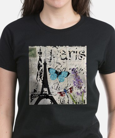 Floral butterfly paris Eiffel Tower T-Shirt