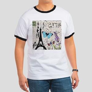 Floral butterfly paris Eiffel Tower T-Shirt