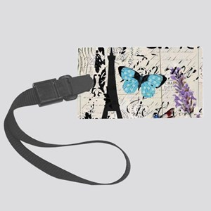 Floral butterfly paris Eiffel T Large Luggage Tag