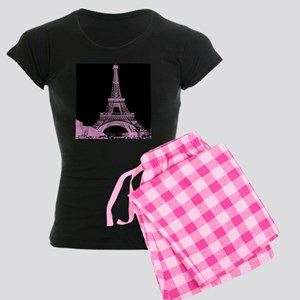 pink paris eiffel tower Women's Dark Pajamas