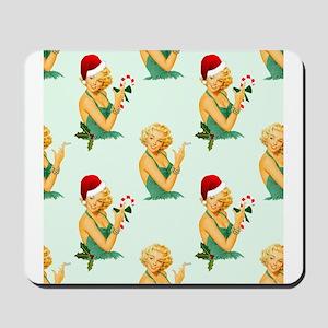 vintage pin up christmas Mousepad