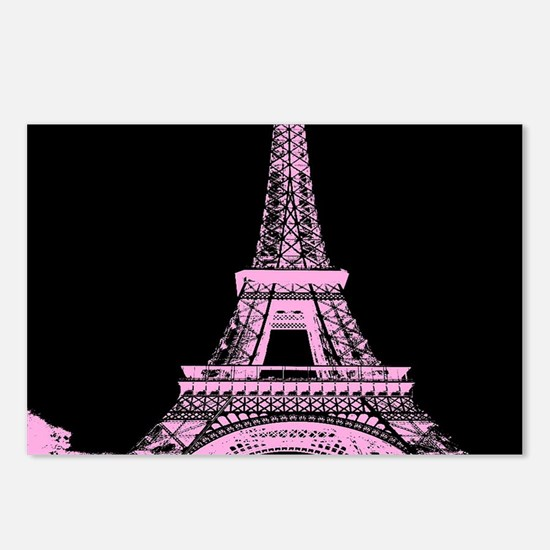 pink paris eiffel tower Postcards (Package of 8)