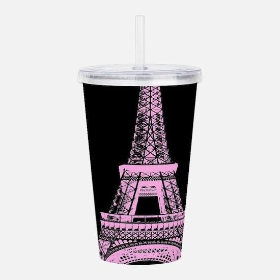 pink paris eiffel towe Acrylic Double-wall Tumbler