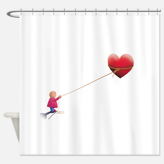 Night illustration Heart and sky.pn Shower Curtain