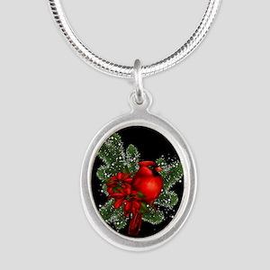 CARDINAL/PINE Silver Oval Necklace