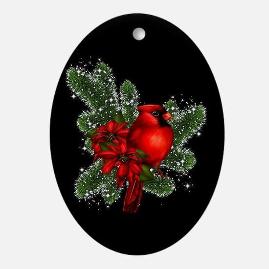 CARDINAL/PINE Oval Ornament