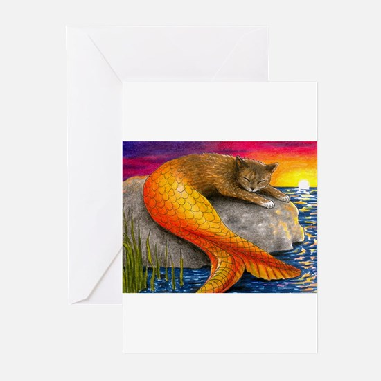 Cat Mermaid 30 Greeting Cards