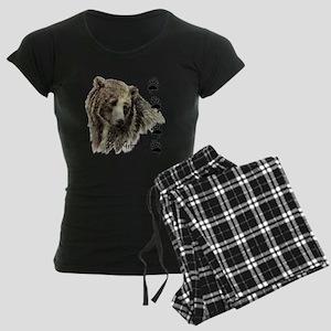 Watercolor Grizzly Bear Tracks Animal art pajamas