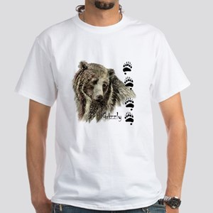 Watercolor Grizzly Bear Tracks Animal art T-Shirt