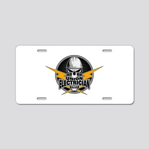 Union Electrician Skull Aluminum License Plate