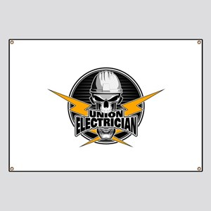 Union Electrician Skull Banner