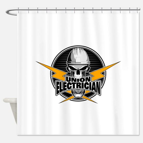 Union Electrician Skull Shower Curtain