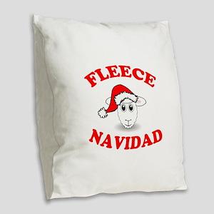 Fleece Navidad Burlap Throw Pillow