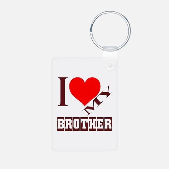 I Love My Brother Aluminum Photo Keychain