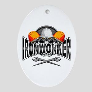 Ironworker Skulls Oval Ornament