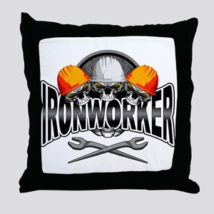 Ironworker Skulls Throw Pillow