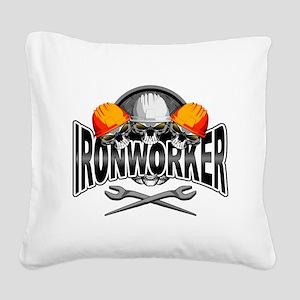 Ironworker Skulls Square Canvas Pillow