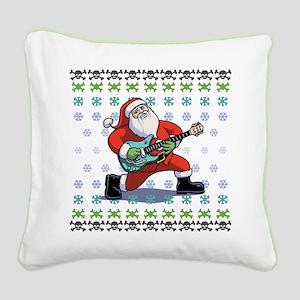 Santa Rockin' Ugly Square Canvas Pillow