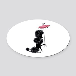 Pretty Polly Poodle - Oval Car Magnet