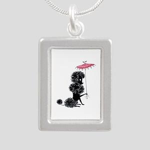 Pretty Polly Poodle - Silver Portrait Necklace