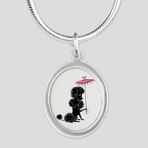 Pretty Polly Poodle - Silver Oval Necklace