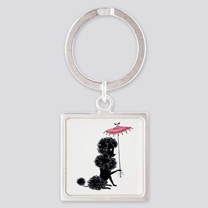 Pretty Polly Poodle - Square Keychain