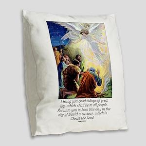 Angel Tidings of Great Joy Burlap Throw Pillow