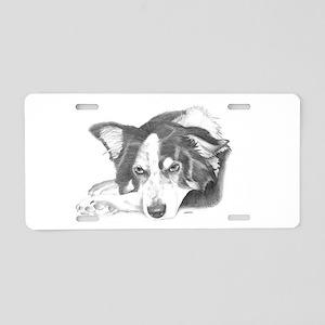 Collie Dog Sketch Aluminum License Plate