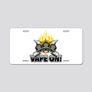 Vaping Skulls: Vape On Aluminum License Plate