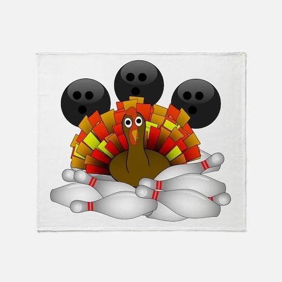 Bowling Strike! Bowling Turkey Throw Blanket