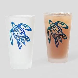 Honu Sea Turtle Blue Green Tribal Watercolor Drink