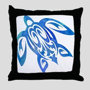 Honu Sea Turtle Blue Green Tribal Watercolor Throw