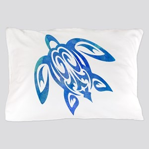 Honu Sea Turtle Blue Green Tribal Pillow Case
