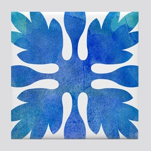 Ginger Hawaiian Quilt Blue Watercolor Tile Coaster