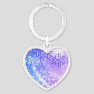 FROZEN SNOWFLAKES Heart Keychain