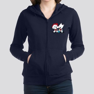 KiniArt Christmas Westies Women's Zip Hoodie
