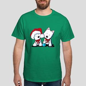 KiniArt Christmas Westies Dark T-Shirt