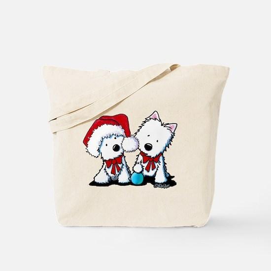 KiniArt Christmas Westies Tote Bag