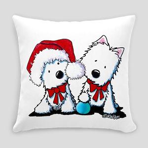 KiniArt Christmas Westies Everyday Pillow