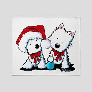 KiniArt Christmas Westies Throw Blanket