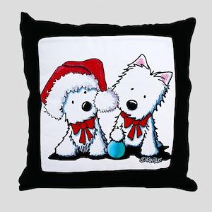 KiniArt Christmas Westies Throw Pillow