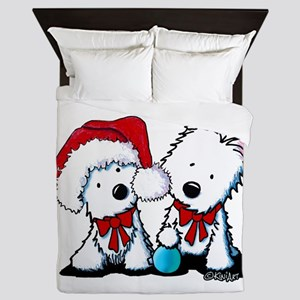 KiniArt Christmas Westies Queen Duvet