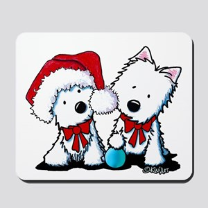 KiniArt Christmas Westies Mousepad