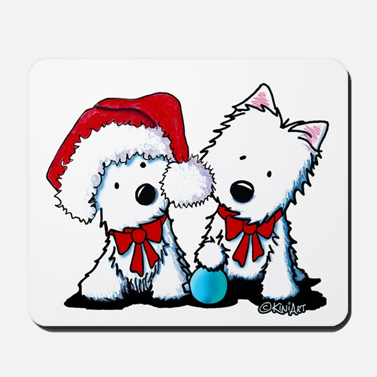 KiniArt Christmas Westies Mousepad