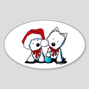 KiniArt Christmas Westies Sticker (Oval)