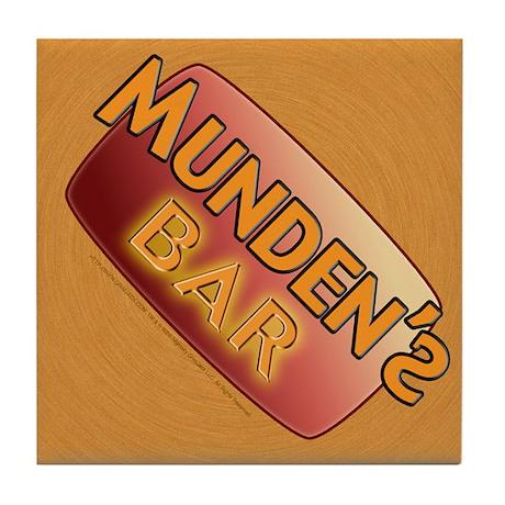 Munden's Bar brown Tile Coaster