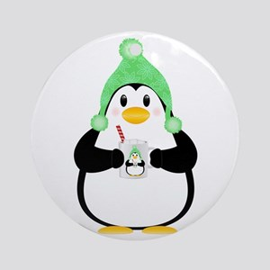 Penguin with Hot Cocoa Round Ornament